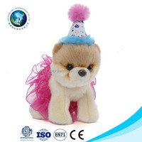 Cute plush puppy dog with princess dress clothing party dog birthday hat