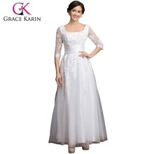 New Arrival 2015 Grace Karin Square Neckline Long Sleeve plus size Mother Of The Bride Lace Dresses CL6051-3#