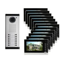 "New 7""LCD Color Video Intercom Apartment Door Phone 4 Screen 2 Outdoor Camera for 4 Household"