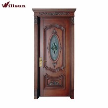 Stained glass insert hand carved antique style interior door