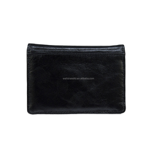 Latest Design Cheap Embroidery Genuine Leather Black Handles Men Purse with Metal Trim
