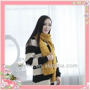 high quality low price yellow color knitted ladies &mens scarf factory