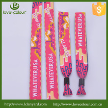 Custom one-time use fabric wristbands no minimum order with big discount for events