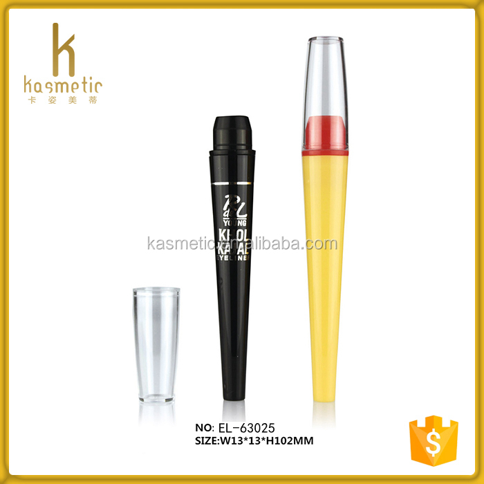 Hot sale fancy design wholesale plastic slim empty lipstick pencil container