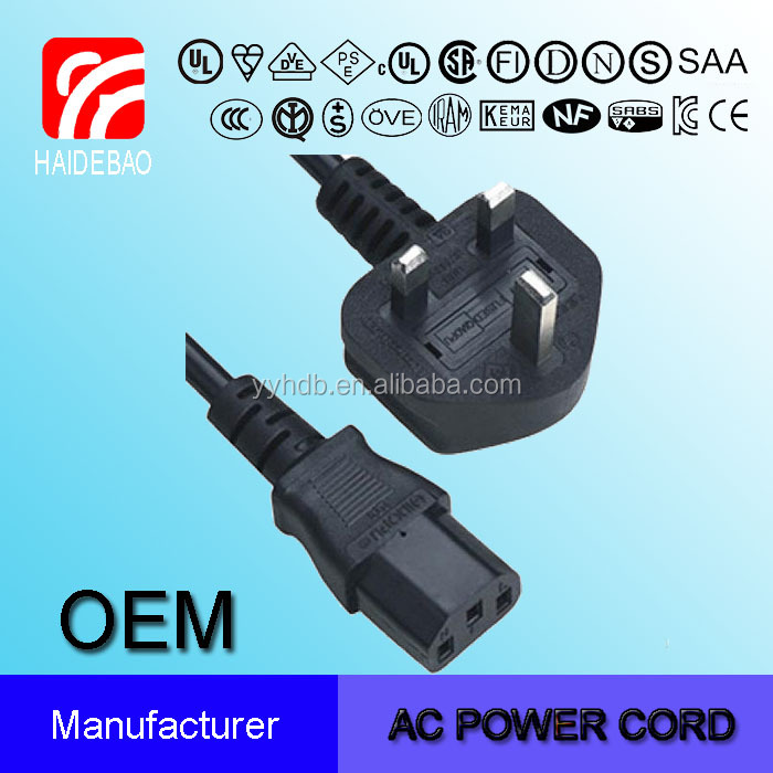 UK HDB Power Cord with Computer Connector c13 power plug