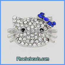 2013 Trendy Hello Kitty Bracelets Connectors Beads Metal Charms Pave Crystal Findings For DIY Making Jewelry OMC-014F