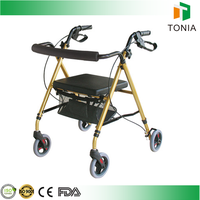 2016 hot sale 4-wheels foldable aluminum lightweight rollator with hand brake manufactured by Rehabilitation Therapy Supplies