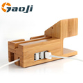 Bamboo Wooden Divide wire Charging station Dock Stand Phone Holder