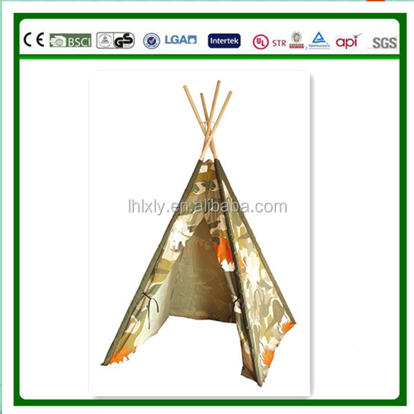 kids play cotton Indian Tent Teepee pine wood poles