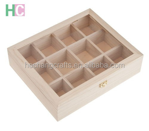 2016 new glass lid wooden tea bags storage box