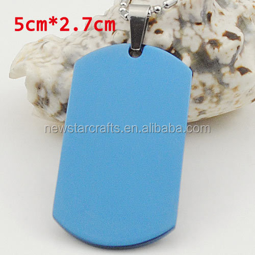 50mm 27mm Stainless Steel Blue Dog Tag Blank Pendant Necklace For Men Women Cool Jewelry