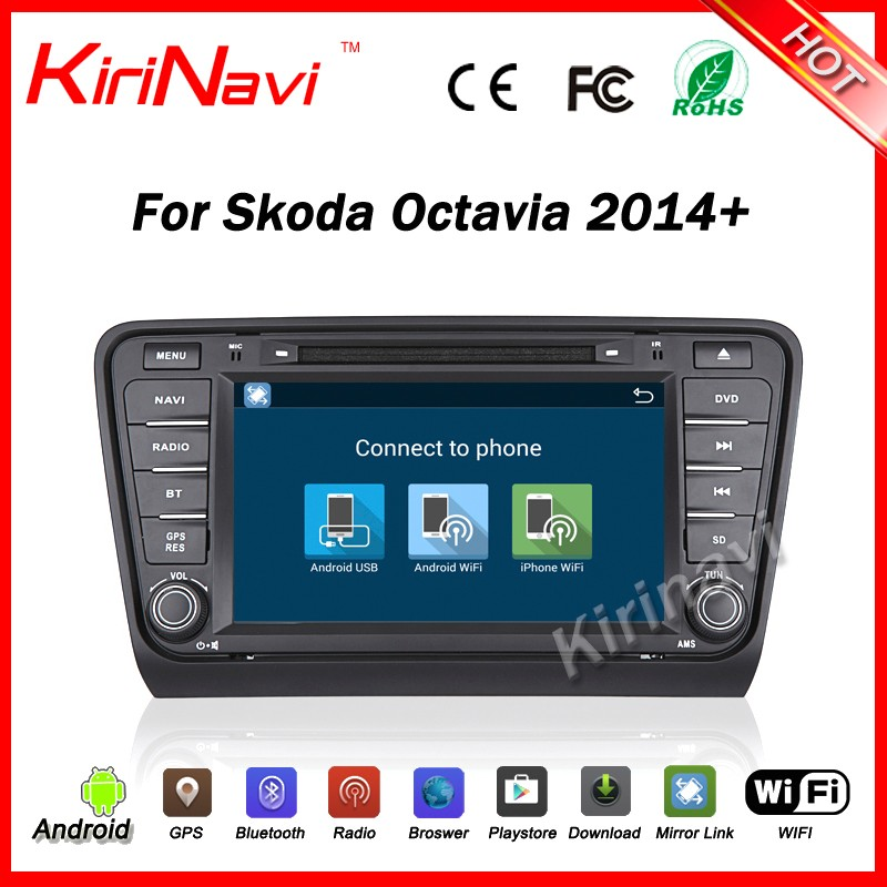 Kirinavi WC-SO8404 Android 5.1 car navigation gps for skoda octavia 2014 2015 2016 car dvd Mp3/Mp4 player wifi 3g playstore