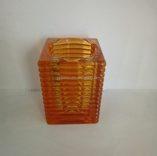 Square Ribbed Colored or Sprayed Glass Candle Holder,Colored Glass Tealight Holders