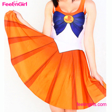 Orange Sleeveless Dress Adult Costume Sailor Moon Sex