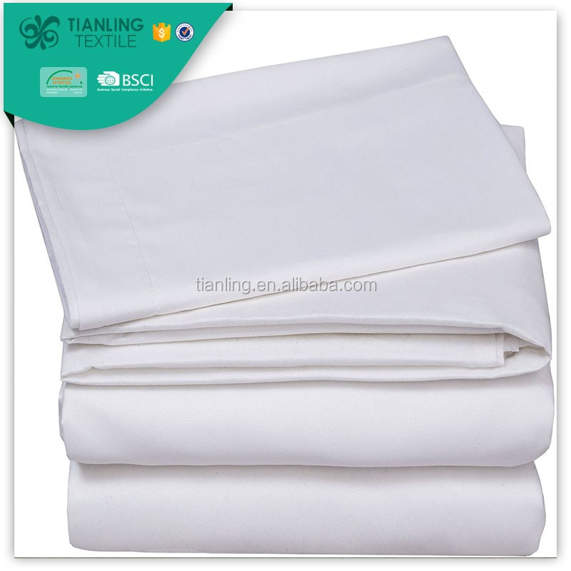 Soft 100% Weave Cotton White Bed Sheet