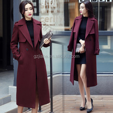 2016 fashion long style women woolen wool coat ladies skinny winter coat for wholesale