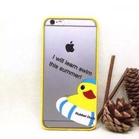 Rubber Duck Hybrid Tpu Bumper Acrylic Back Case For Iphone 6 Transparent Cover Case