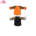 Funny Girl Shirt Orange Black Raglan 3/4 Ruffle Sleeve Toddler Children Icing Raglan Pumpkin Halloween Shirts