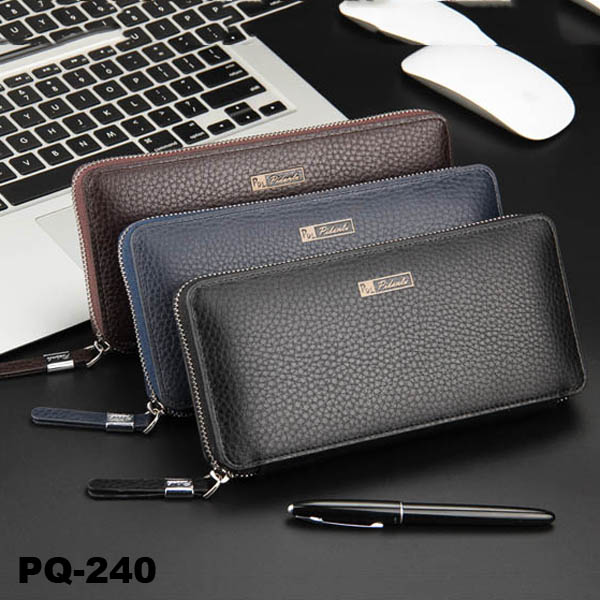PU Leather Large Wallet Zipper Smart Phone Purse For Men