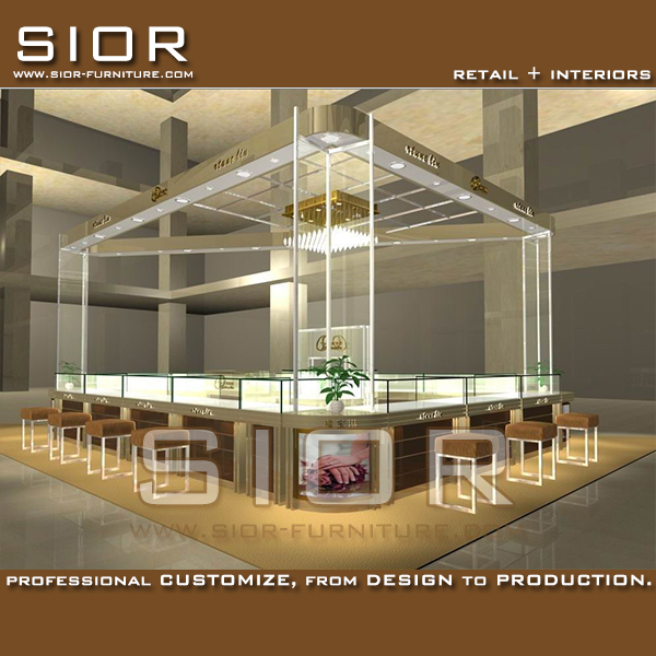 Luxury showroom designs jewelery kiosk for sale gold jewelry display cases kiosk store interior design with led lighted