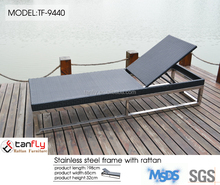 outdoor wicker lounge swimming pool sun bed with base