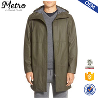 New Design MenS Green Hooded Leather Parka Coats
