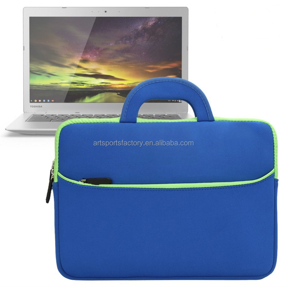 factory price soft neoprene 13.3inch netbook sleeve with carrying and pocktet