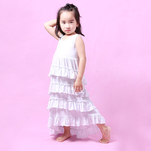 Popular in USA children clothes white ruffles long maxi girl dress