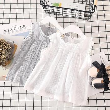2019 Summer new fashion Korean embroidery tops small girls sweet sleeveless vest blouse