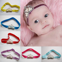 New European Kids Infant Newborn Baby Girl Hairband Pearl Crown Elastic Headband For Girls Photography Hair Ornaments HA81206-42