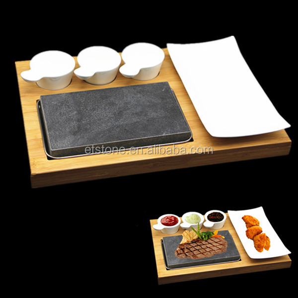 Resturant Steak on a Stone Set,stone grill plate Cooking Steaks Hot Rock Grill Plate,Lava Stone Steak Set