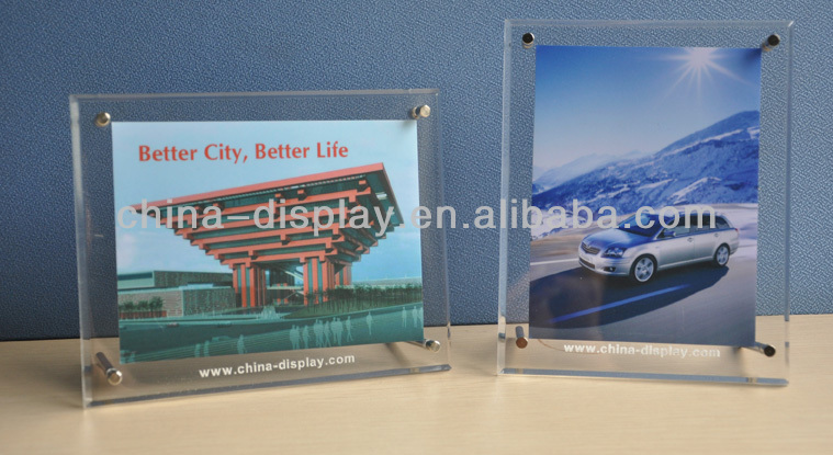 Clear acrylic magnetic rectangle picture frame /photo frame display