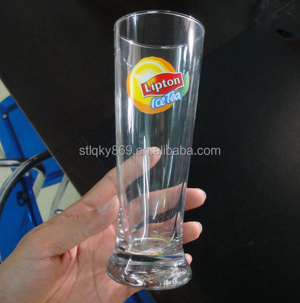 Long custom printing logo lipton ice tea glass cup colored wine glasses wholesale for bar with China supplier