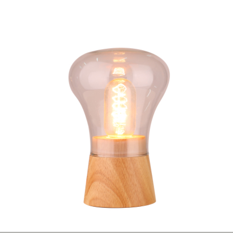 Modern decorative Wood Base colorful Glass dimmer Table Lamp