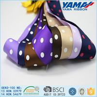 Fujian low price custom printing grosgrain ribbon polka dot