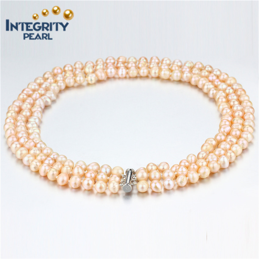 17-19 inches 3 strand natural potato orange pearl necklace with sterling silver clasp
