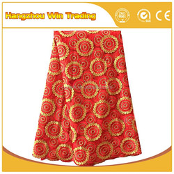 New lace designs floral designs red stretch lace fabric for bridesmaid dresses