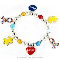 Newest Autism Awareness Jewelry Autism Ribbbon Charm Bracelet
