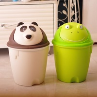 N514 Indoor Decorative Plastic Trash Can Cartoon Plastic Garbage Can Home Waste Basket