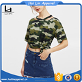 summer tshirt for women cutout neck drop shoulder camo tshirt
