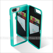 Wallet Plastic Mirror Mobile Phone Case Back Cover For iPhone 7 plus