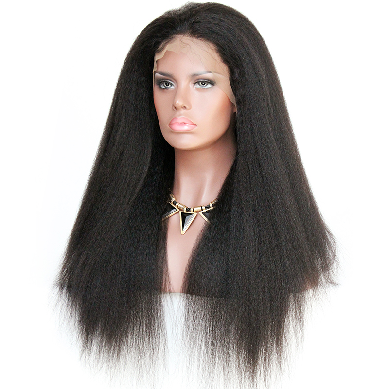 Peruvian Virgin Hair Wig Kinky Straight Human Hair Full Lace Wigs for black women