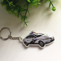 Wholesale 3D police car led keyring /soft pvc metal keychain/souvenir costom keychain