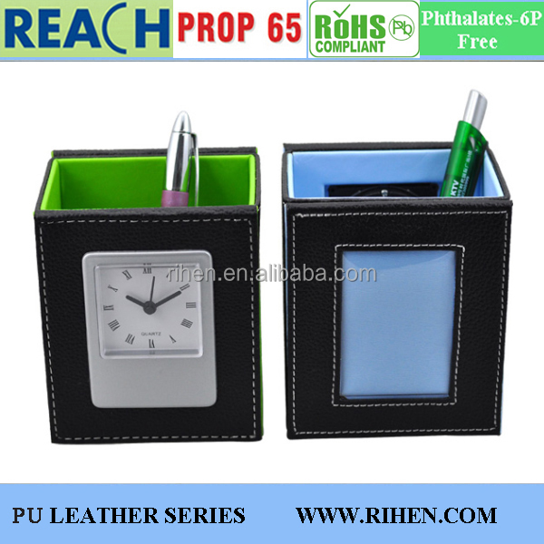 Fancy PU Leather Office Pen Holder with Analog Clock for Desk
