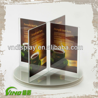 Tabletop Transparent 3-side Rotating Acrylic Free Standing Poster Holder
