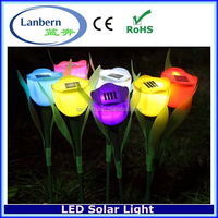 2016 high quality Plastic Colourful Tulip Landscaping decorative flower solar stake lights JD-140A