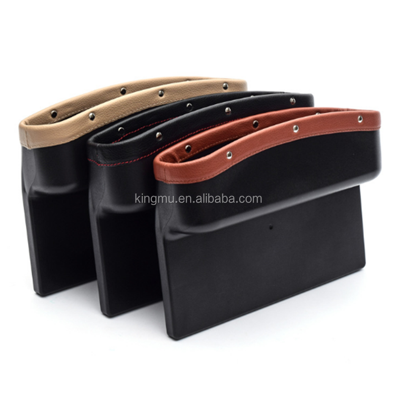 Car Seat Pockets PU Leather Car Console Side Organizer Seat Gap Filler Catch Caddy for Cellphone Wallet Coin Key