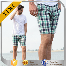 Summer New Men's Plaid Soft Beach Board Work Mid Pants Chic linen Casual Shorts