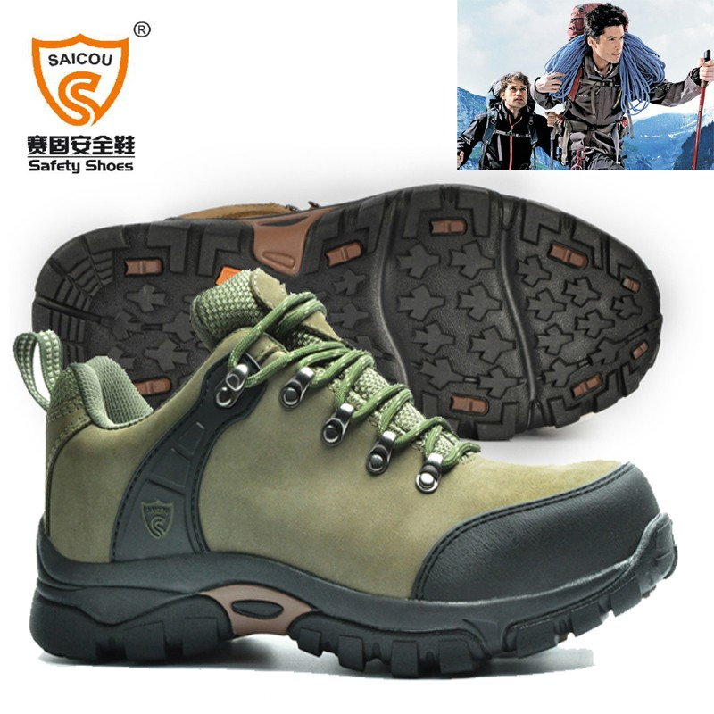 Saicou safety shoes with steel toe cap Rubber Cemented outsole (2) hiking.jpg