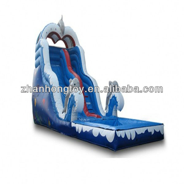 2013 new design inflatable dolphin slide with pool